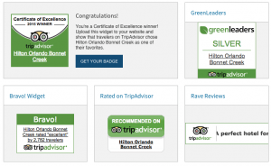 TripAdvisor Certificate of Excellence - Widgets