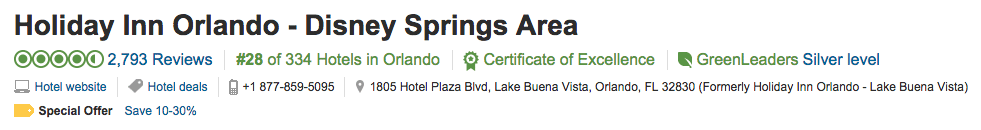 TripAdvisor Certificate of Excellence - Listing